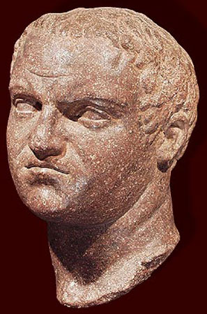 Head of the emperor Titus. Brown porphyry. Ca. 70—100 CE. Height: 11 3/8 in. (29 cm). Royal-Athena Galleries
