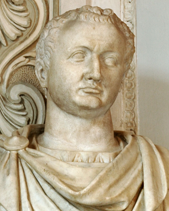 Titus. Detail. Marble. 79—81 CE. Height 92 cm. Inv. No. MC433. Rome, Capitoline Museums, Palazzo Nuovo, Hall of the Emperors