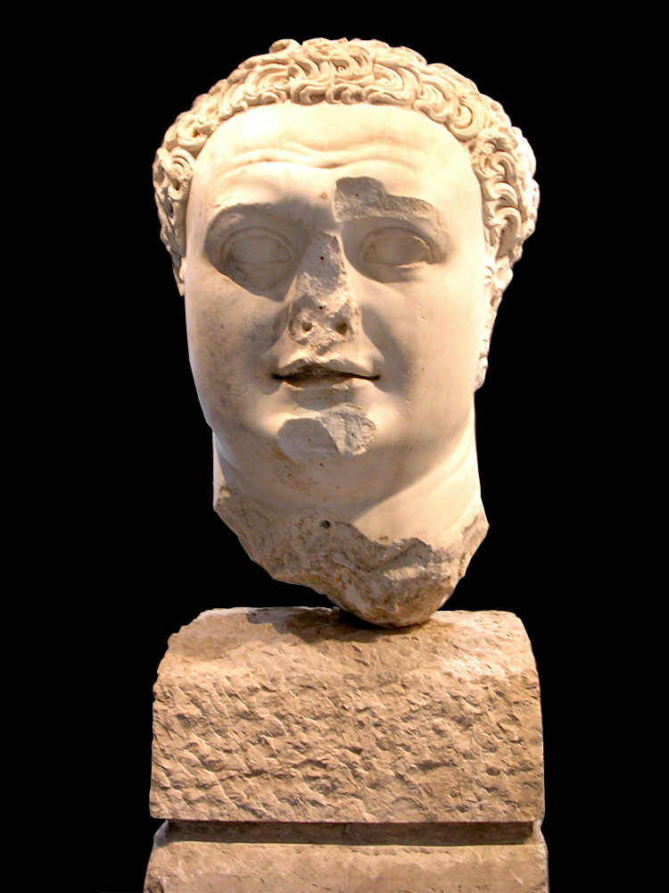 Colossal head of Titus. White marble. Ca. 95 CE. Naples, National Archaeological Museum