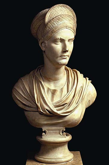 Bust of Matidia, the niece of Trajan. Marble.  Paris, Louvre Museum