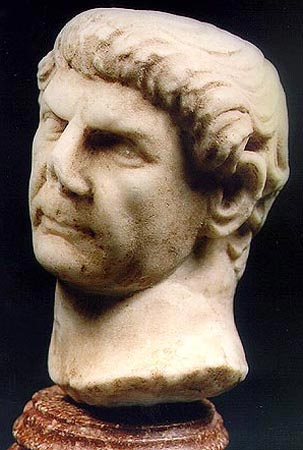 Head of Trajan. Marble. Early 2nd century. Height: 3 3/4 in. (9.5 cm). Royal-Athena Galleries