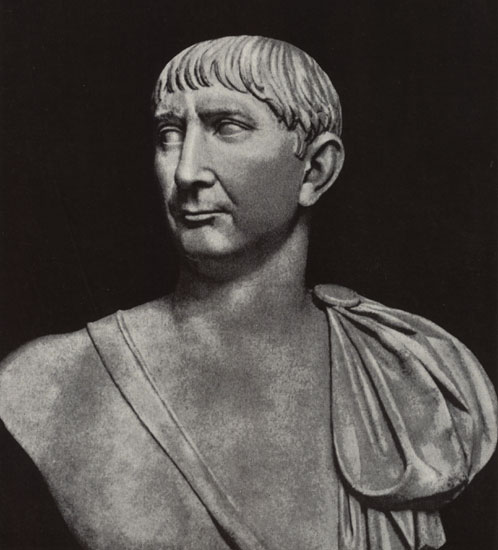 Bust of Trajan. Marble. Ca. 108 CE. Rome, Vatican Museums, Chiaramonti Museum, New wing, 41