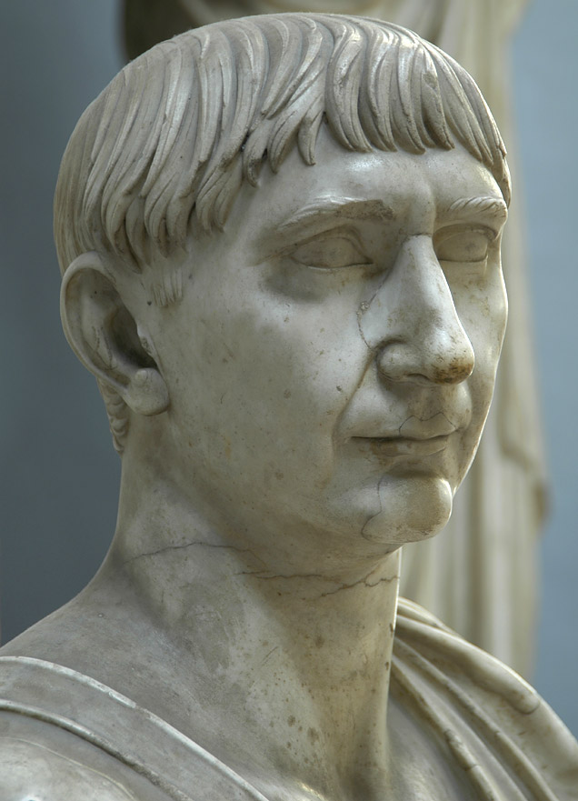 Bust of emperor Trajan. Detail. Marble. 103—117 CE. Inv. No. 2269. Rome, Vatican Museums, Chiaramonti Museum, New wing, 41
