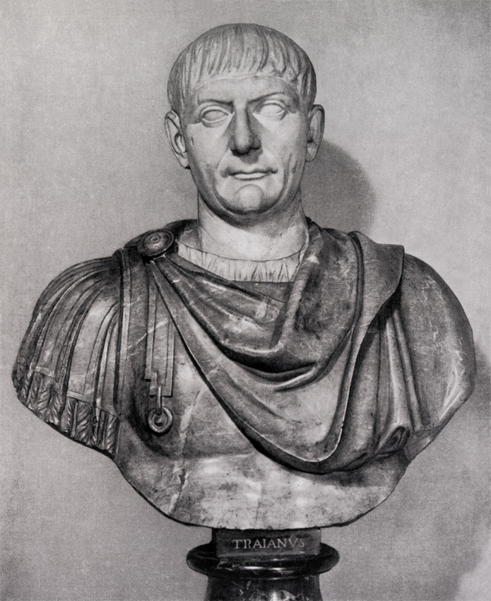 Bust with the head of Trajan. Greek marble. Ca. 105 CE.  Inv. No. 142 (1914). Florence, Gallery of Uffizi