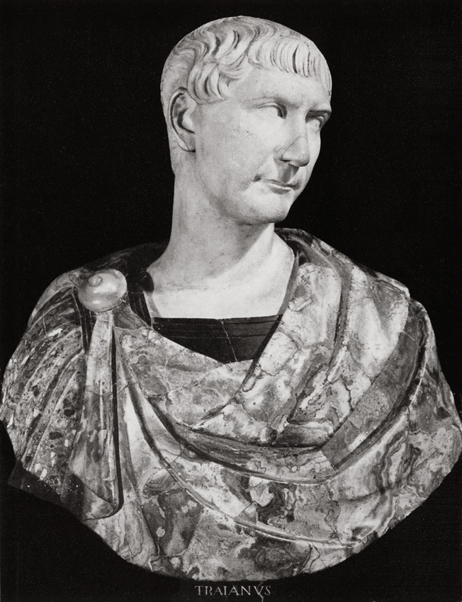 Bust with the head of Trajan. Greek marble. Ca. 110 CE.  Inv. No. 141 (1914). Florence, Gallery of Uffizi