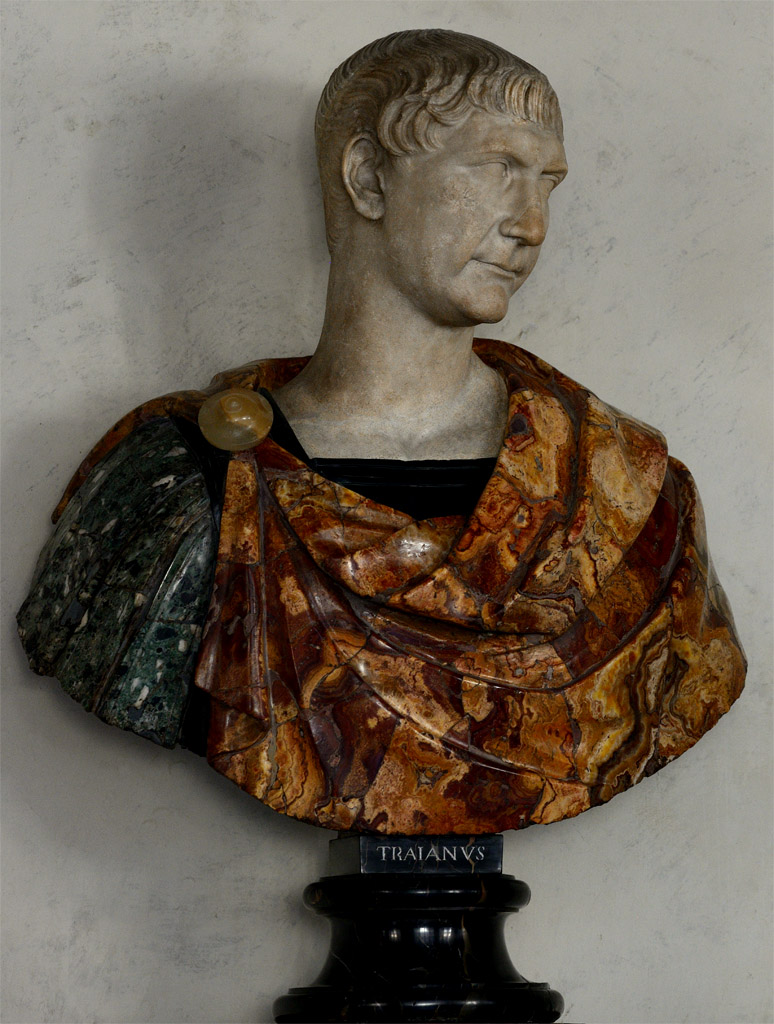 Trajan. Greek marble. Ca. 110 CE. Bust: modern work. Inv. No. 141 (1914). Florence, Gallery of Uffizi