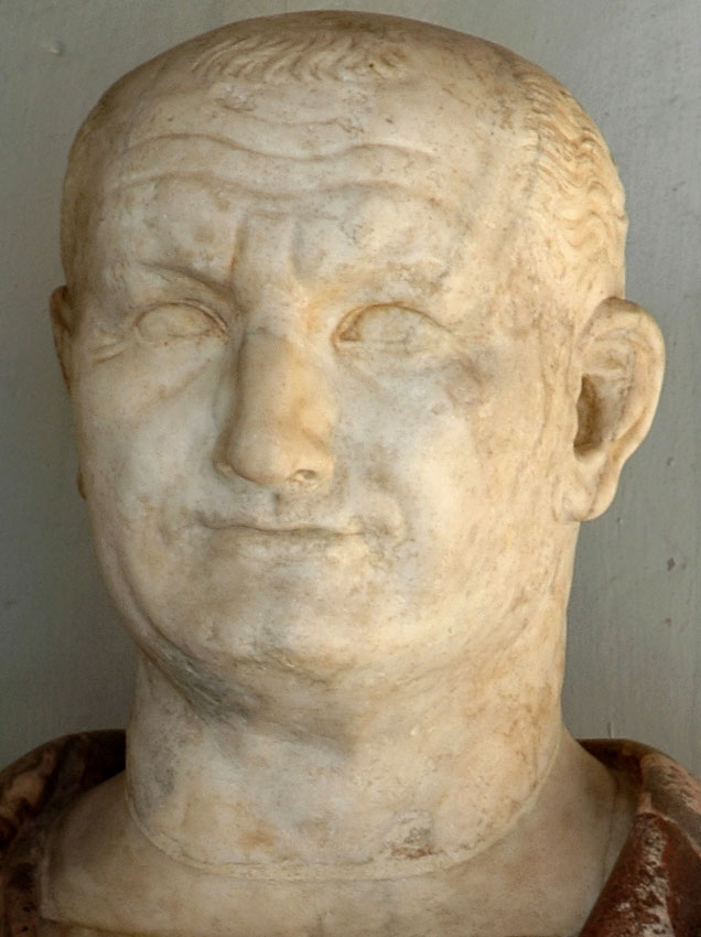 Vespasian. Detail. Marble. 69—79 CE. Inv. No. MC432. Rome, Capitoline Museums, Palazzo Nuovo, Hall of the Emperors