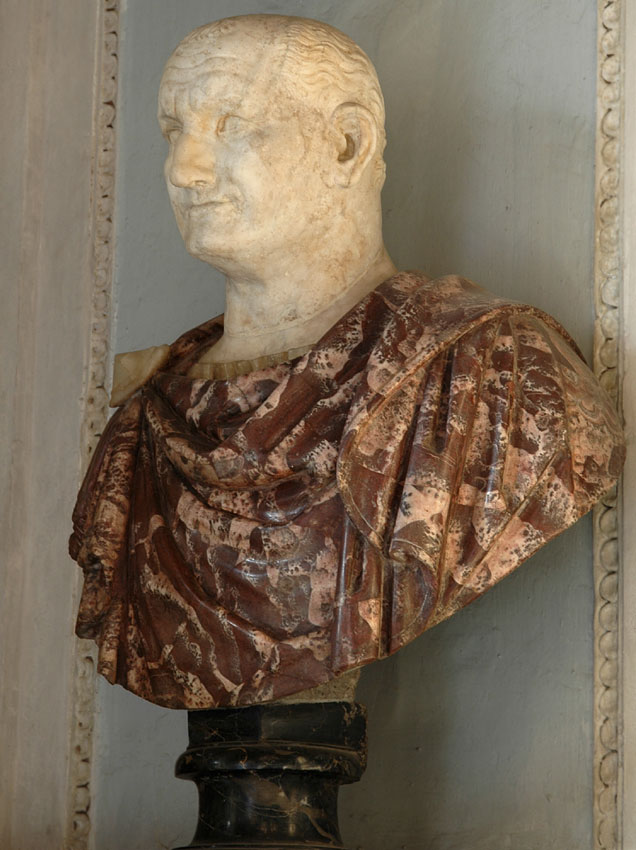 Vespasian. Marble. 69—79 CE.  Inv. No. MC432. Rome, Capitoline Museums, Palazzo Nuovo, Hall of the Emperors