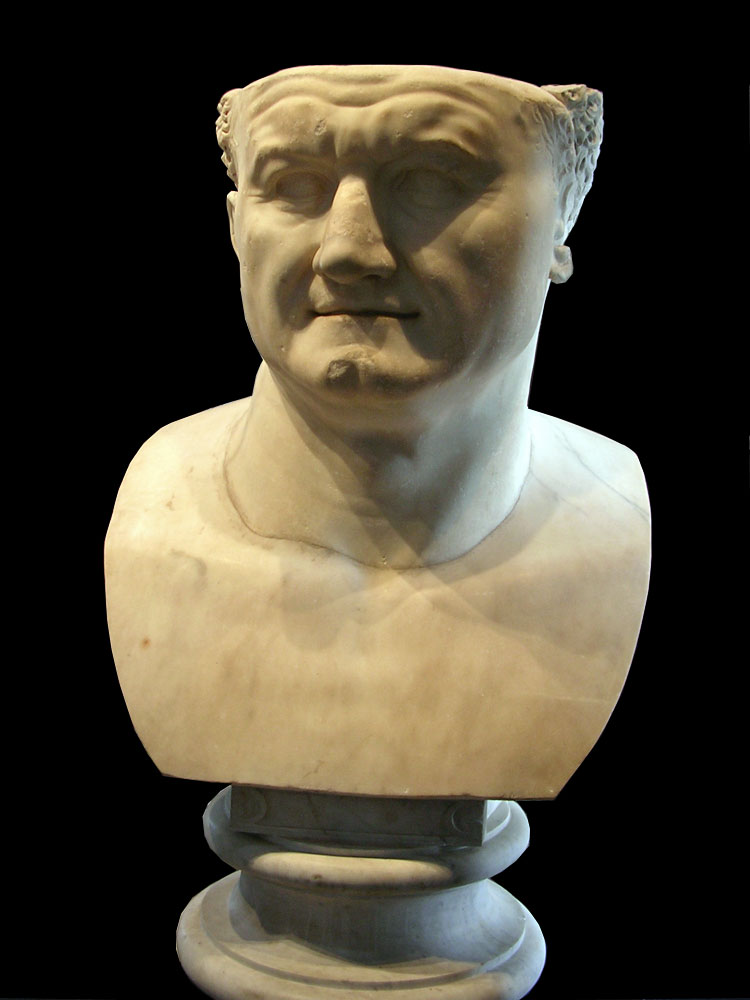 Colossal head of Vespasian. White marble. Era of Domitian. Naples, National Archaeological Museum