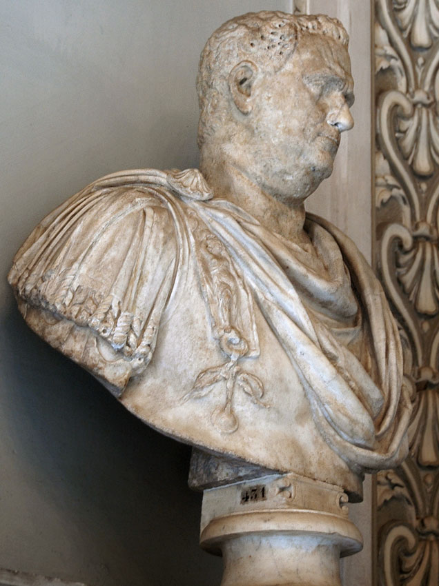 Male portrait. (Vitellius?) Marble. 1st—2nd centuries. Height 91 cm. Inv. No. MC431. Rome, Capitoline Museums, Palazzo Nuovo, Hall of the Emperors