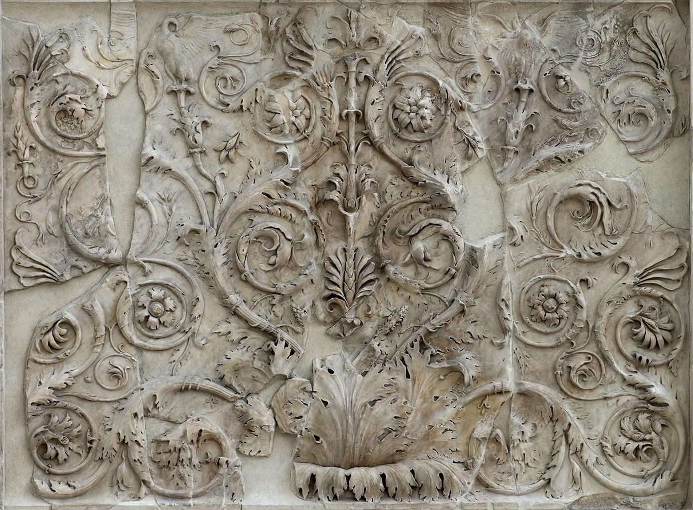 Decorative floral panel. Right part of the west facade of the Ara Pacis Augustae (lower panel). Rome, Museum of the Altar of Augustan Peace (Ara Pacis Augustae)