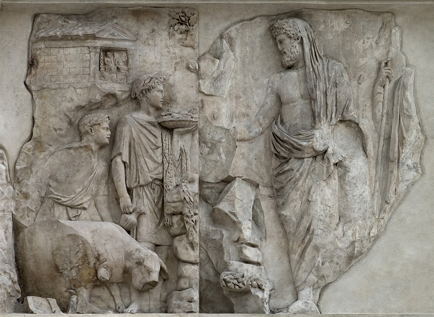 Aeneas sacrificing to the Penates. Right part of the west facade of the Ara Pacis Augustae (upper panel). Rome, Museum of the Altar of Augustan Peace (Ara Pacis Augustae)