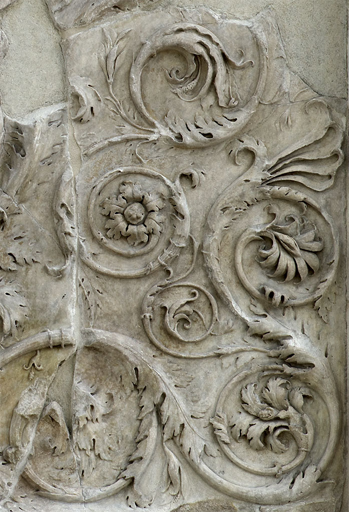 Decorative floral panel (close-up). Right part of the west facade of the Ara Pacis Augustae (lower panel). Rome, Museum of the Altar of Augustan Peace (Ara Pacis Augustae)