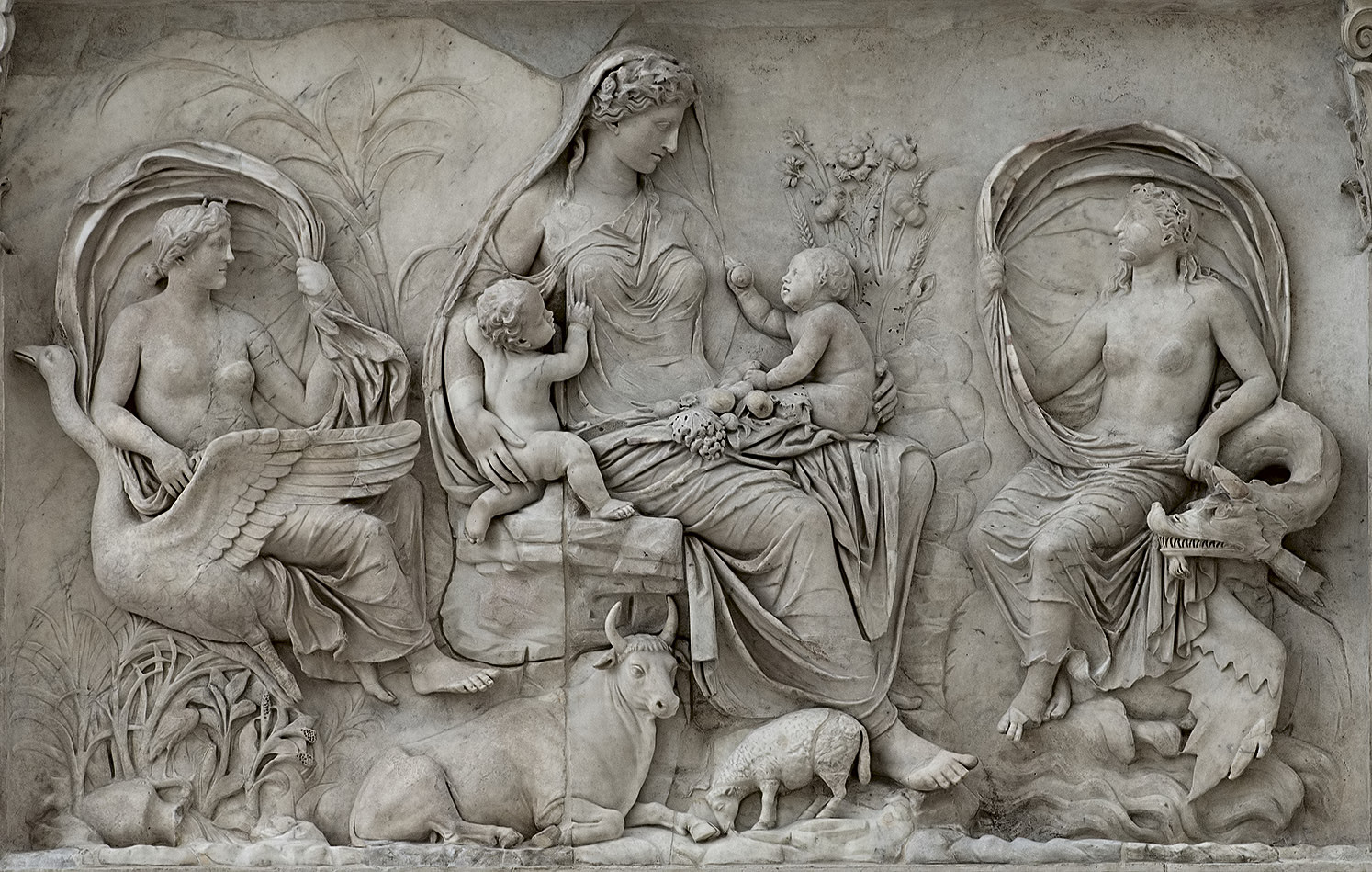 Panel of Tellus. Left part of the east facade of the Ara Pacis Augustae (upper panel). Marble. Rome, Museum of the Altar of Augustan Peace (Ara Pacis Augustae)