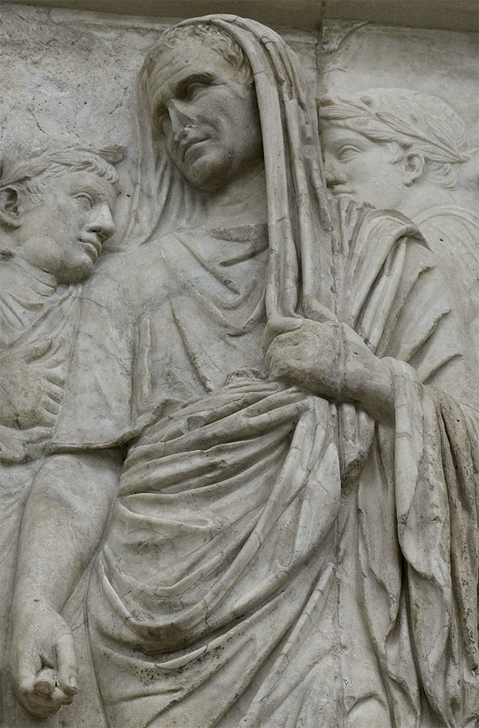 Marcus Vipsanius Agrippa. South procession (close-up). Rome, Museum of the Altar of Augustan Peace (Ara Pacis Augustae)