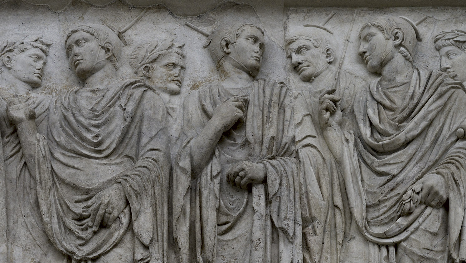 Flamens. South procession (close-up). Rome, Museum of the Altar of Augustan Peace (Ara Pacis Augustae)