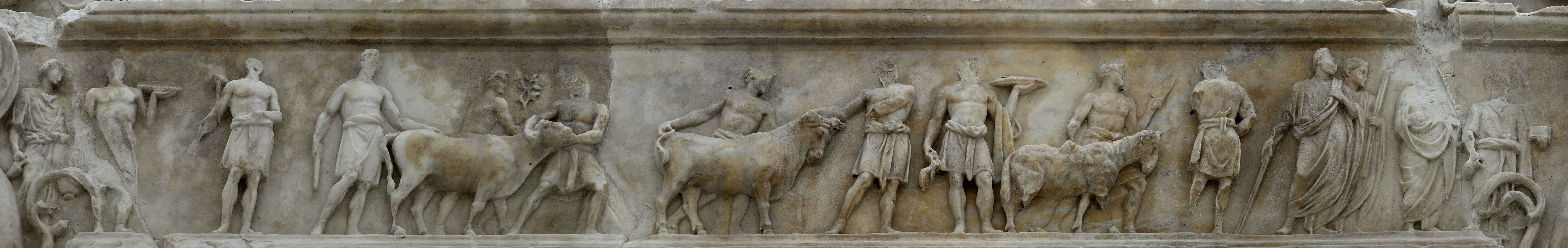 Relief with a scene of a sacrifice. North crowning slab of the sacrificial table, external side. Rome, Museum of the Altar of Augustan Peace (Ara Pacis Augustae)