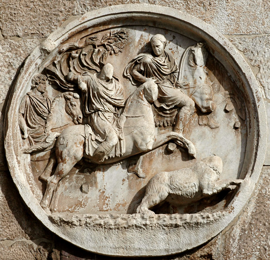 Bear hunt. Relief on the Arch of Constantinus, tondo on south side. 117—138 CE. Rome, Arch of Constantine