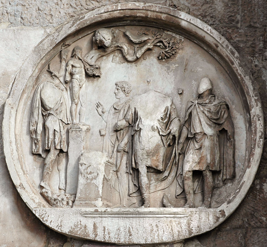 Sacrifice to Silvanus. Relief on the Arch of Constantinus, tondo on south side. 117—138 CE. Rome, Arch of Constantine