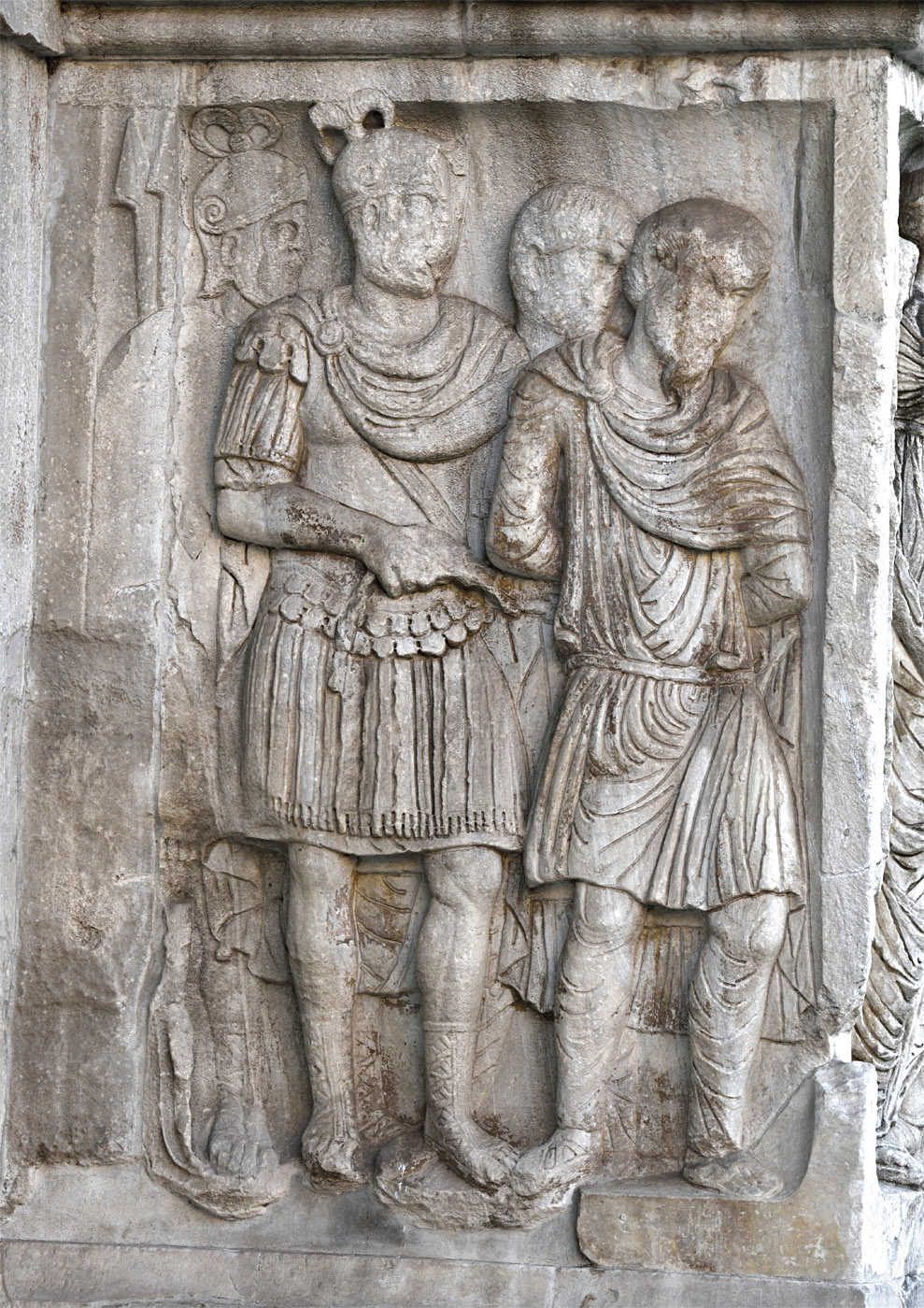 Roman warrier with captured barbars Relief of the column plinth. Marble. 312—315 CE. Rome, Arch of Constantine, North face