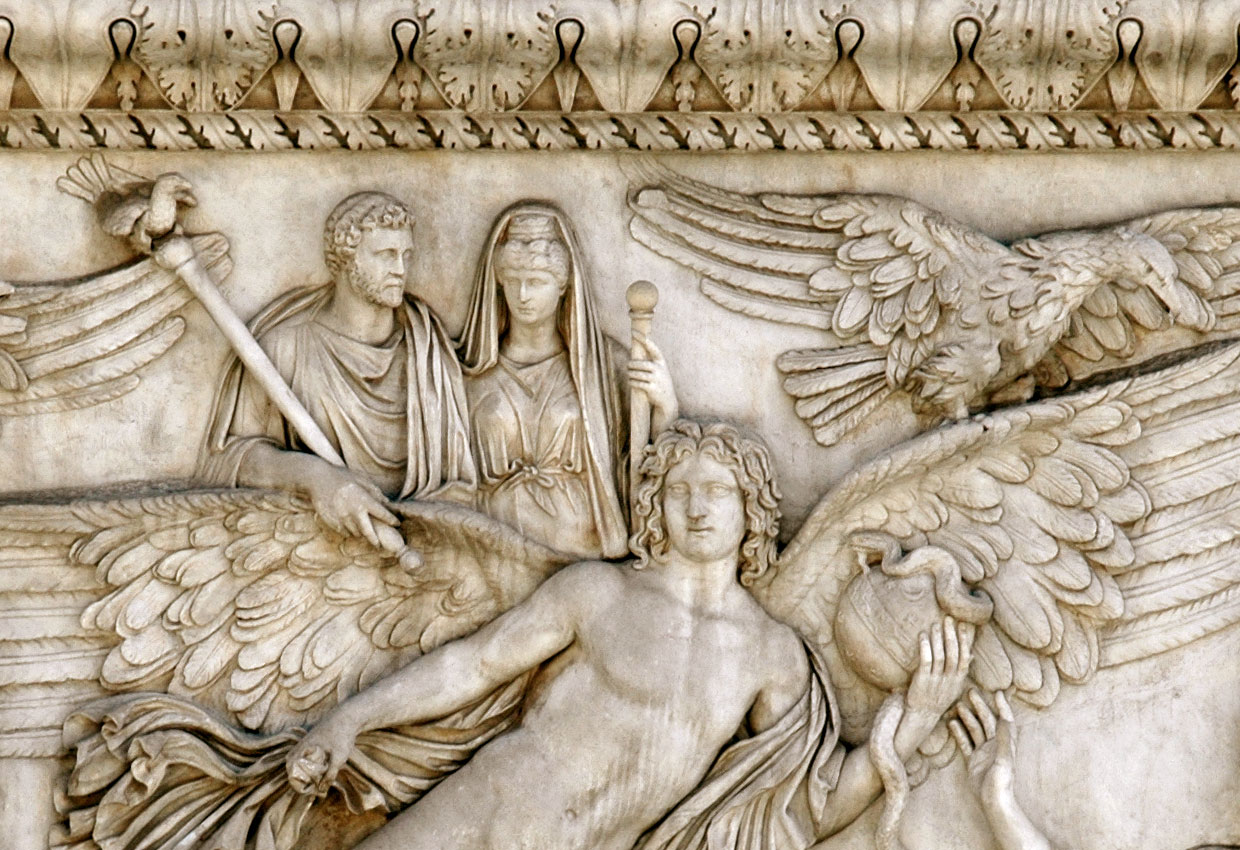 Antoninus Pius and Faustina on the wings of the Genius of Death. Fragment of relief on the front face of the pedestal of the Antoninus Pius' column. White Italian marble. 161 CE. Rome, Vatican Museums, Cortile delle Corazze