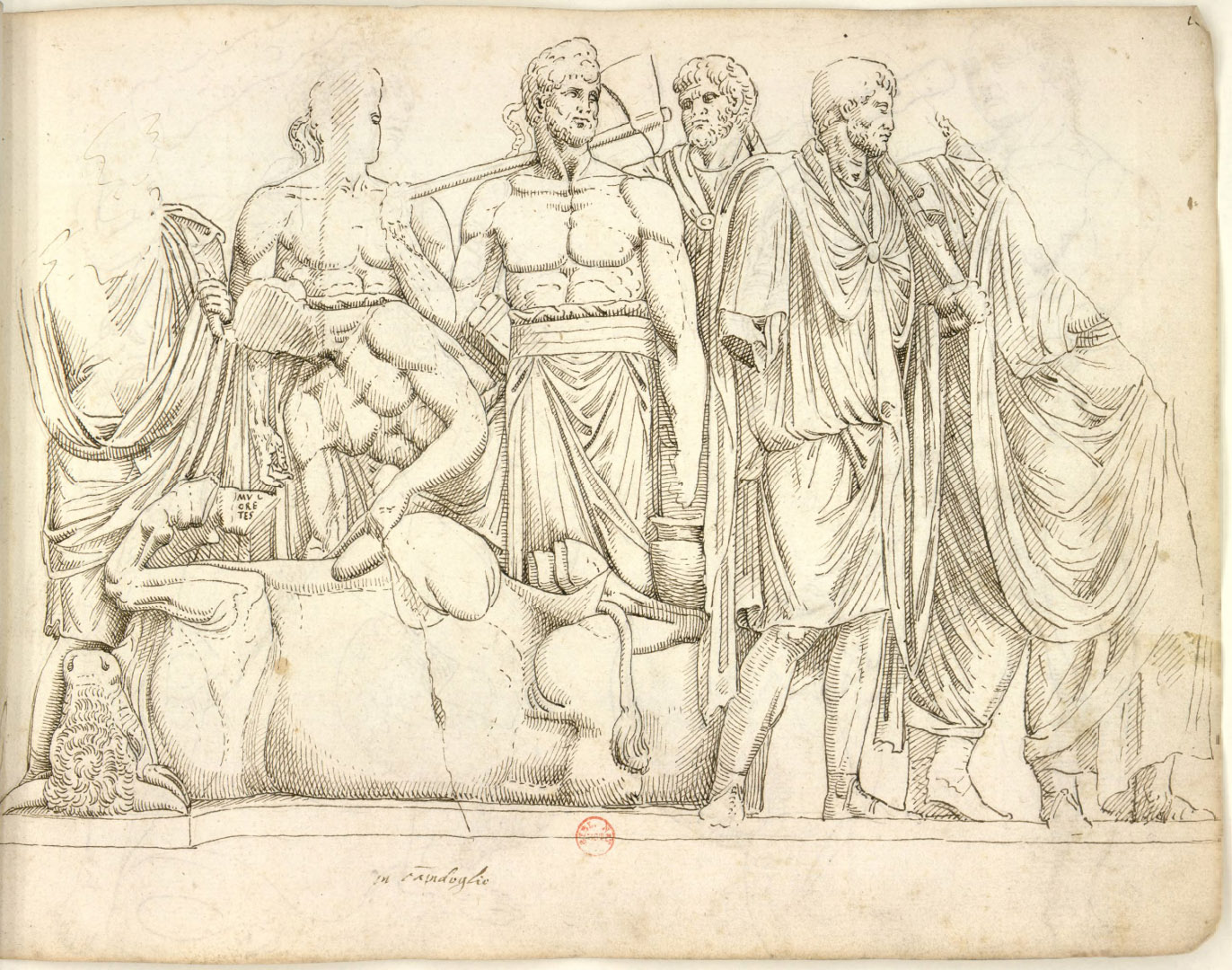 "Extispicium Relief. Left panel of the relief ""Sacrifice in front of the Temple of Juppiter Capitolinus."" Drawing by Pierre Jacques (1576)."