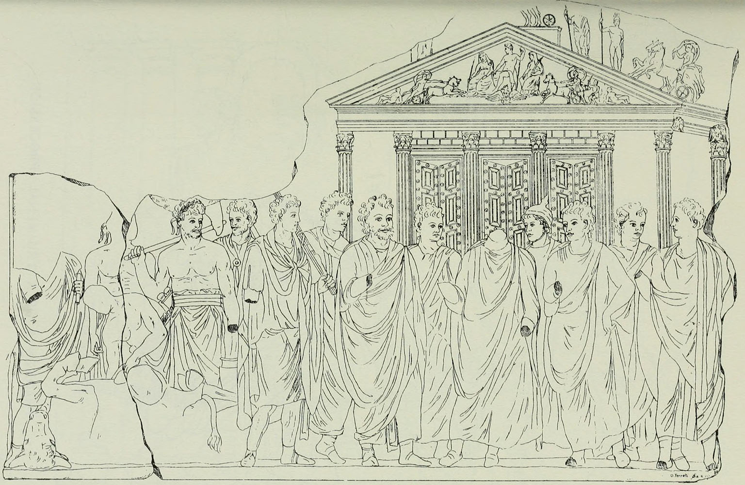 Reconstructed drawing of the relief showing the reading of auguries and declaration of sacred vows. O. Ferretti. 1907. Paris, Louvre Museum