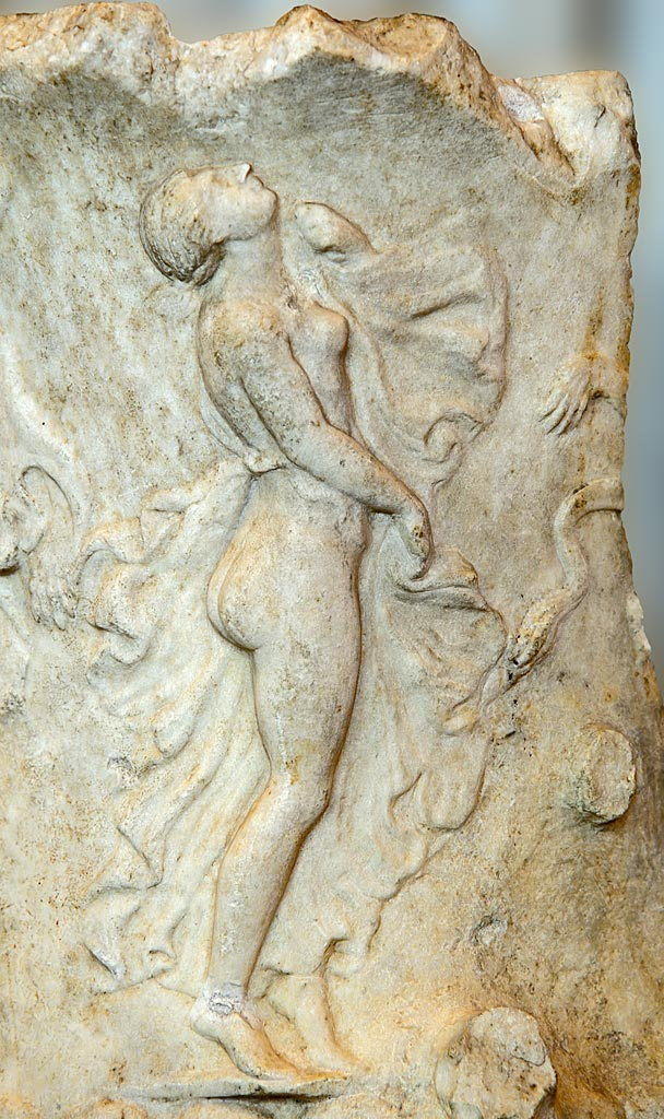 Maenad. Fragment of a vase. Marble. Greco-roman work of the late 1st century BCE. Inv. No. A 174. Saint Petersburg, The State Hermitage Museum