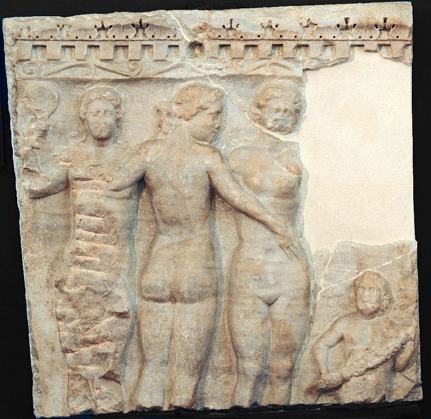 Front side of a sarcophagus with three Graces. Proconnesus or Hymettius marble. 2nd—3rd centuries CE. Inv. No. MR 10712. Brescia, Santa Giulia Civic Museum
