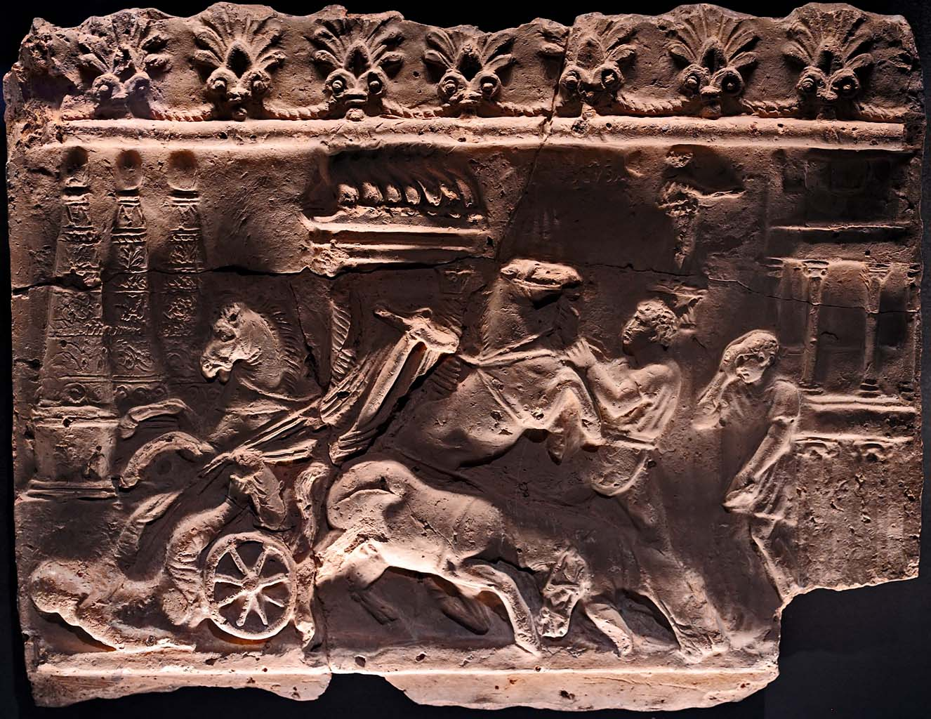 Campana tile with a relief scene of chariot race. Terracotta. 1st century CE. Inv. No. V 49. Vienna, Museum of Art History