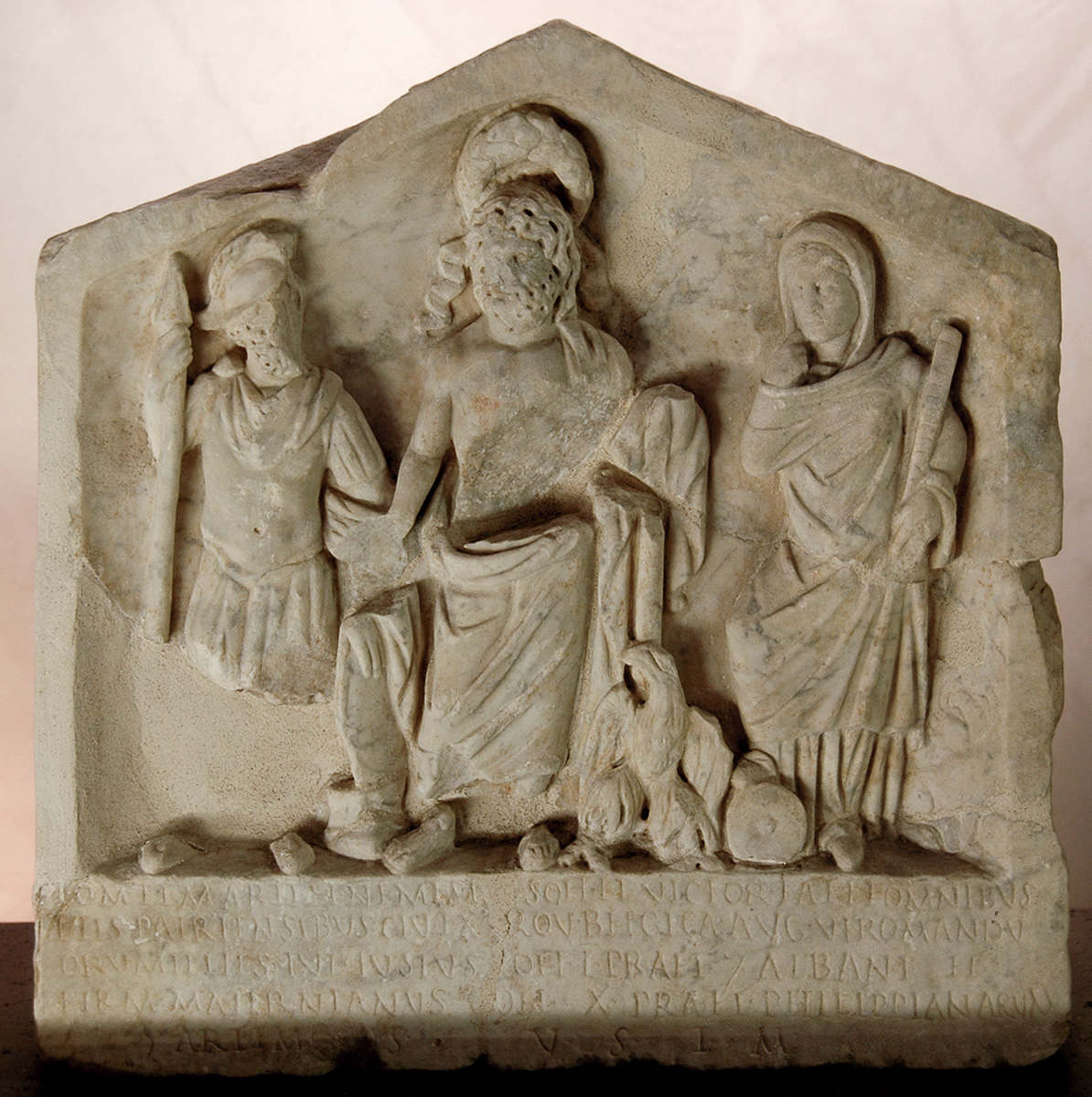 Relief dedicated to the gods of fatherland by pretorians of Gallia Belgica. Marble. 246 CE. Inv. No. NCE 477. Rome, Capitoline Museums, Palazzo Senatorio