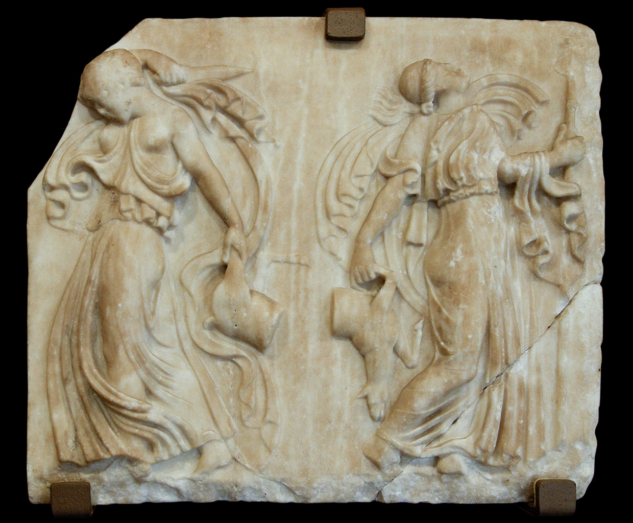 Relief with dancing Maenads. Marble. Roman copy of the 1st cent. CE after a Greek model of the 5th cent. BCE. Turin, Museum of Antiquities