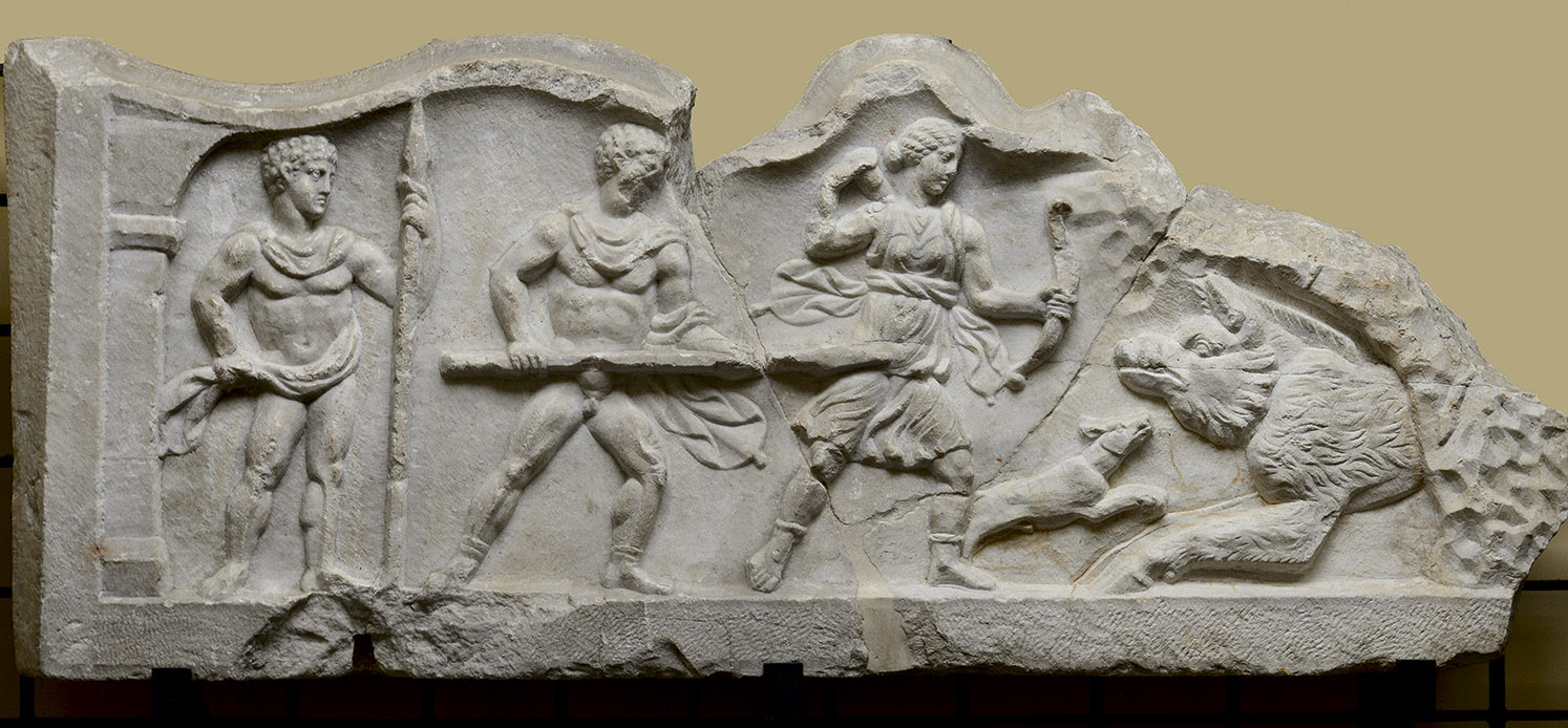 Relief with a scene of the Calydonian Hunt. Marble. Age of Hadrian. Santa Maria Capua Vetere, Gladiators Museum