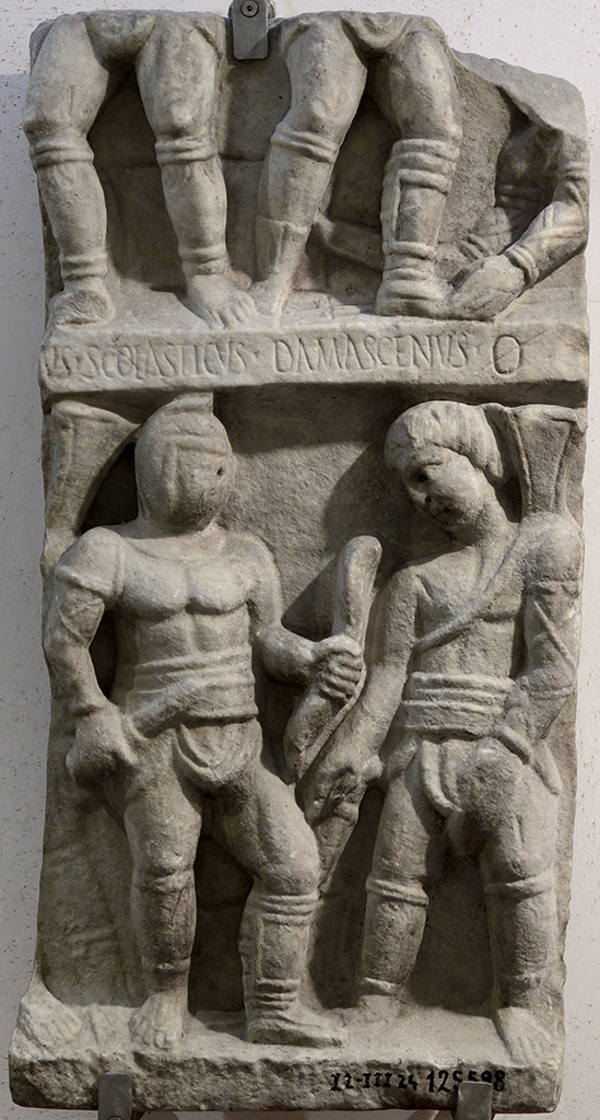 Fighting scenes between gladitors. Luni marble. Late 3rd century CE. Inv. No. 125598. Rome, Roman National Museum, Baths of Diocletian