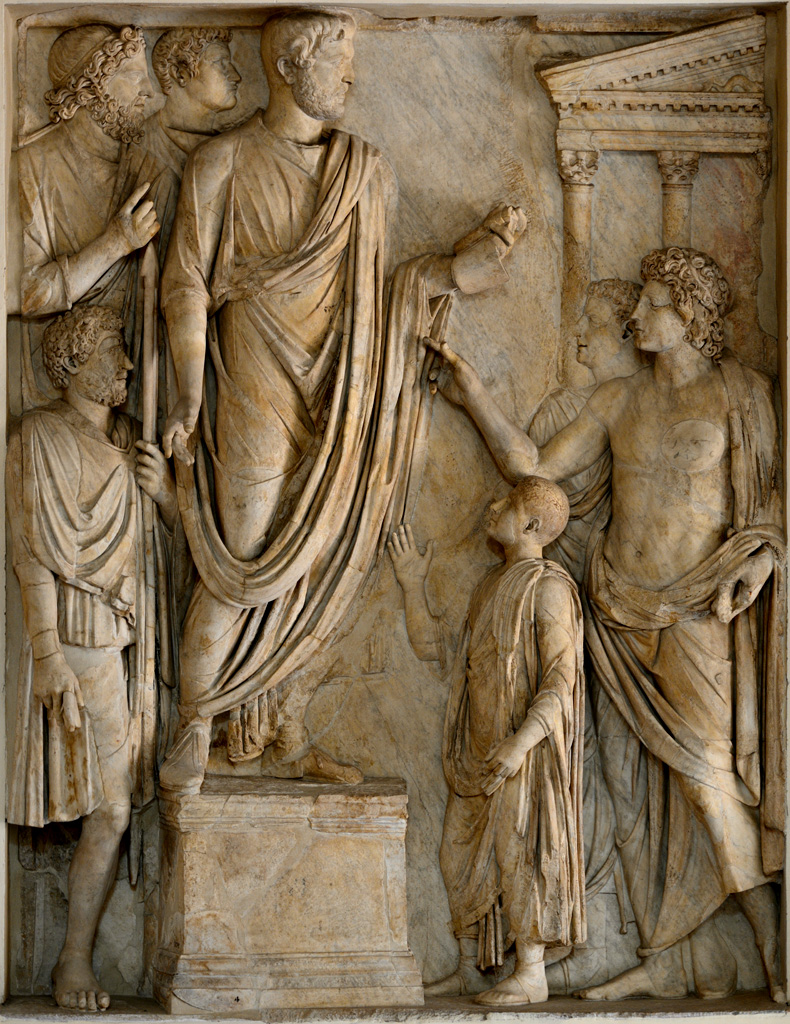 Donation of food to Roman children. Relief panel from the so-called the Arch of Portugal on via Lata. Marble. 2-nd cent. A.D. 293 cm. Inv. MC 0832. Rome, Capitoline Museums.