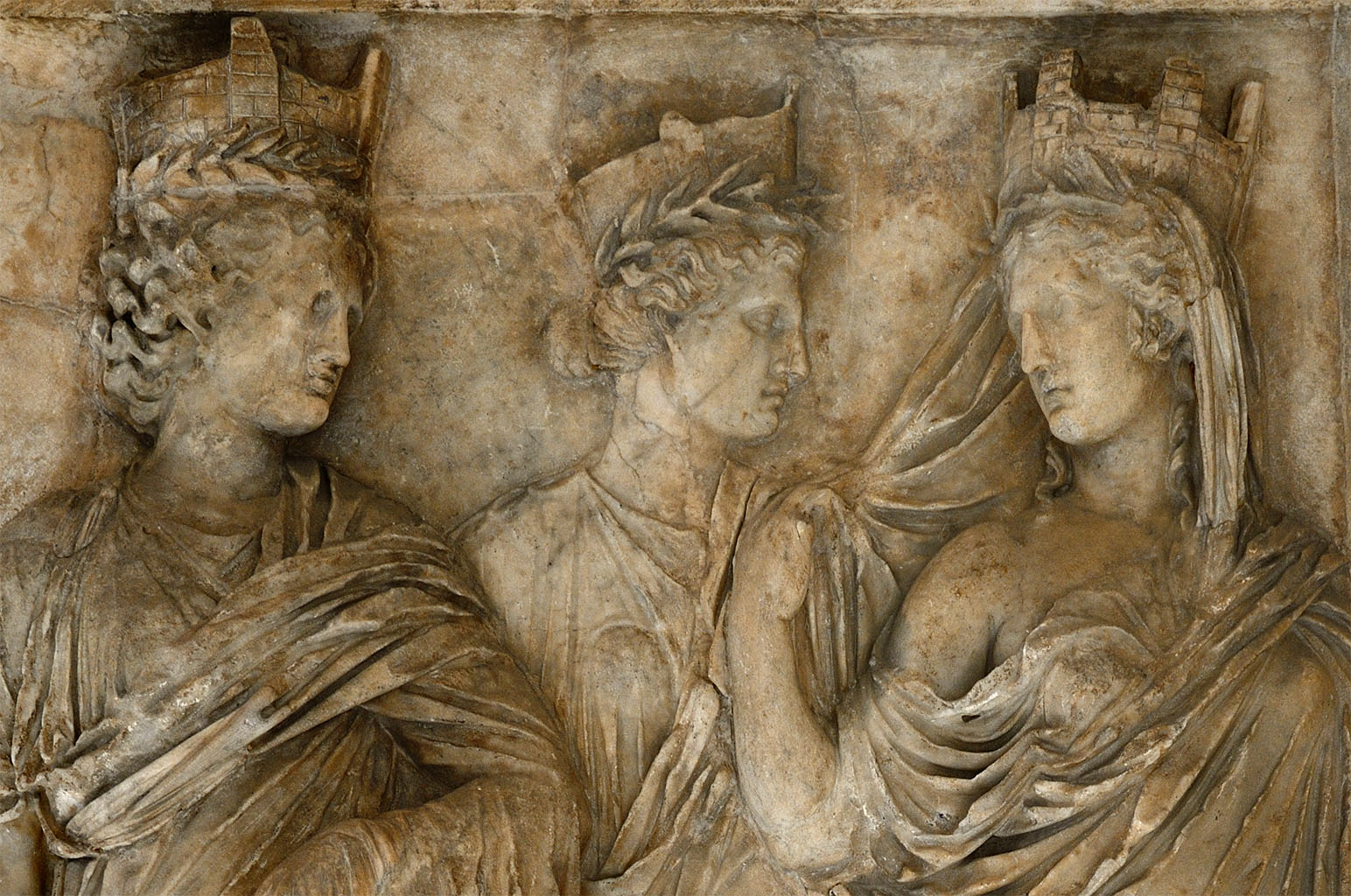 Three Tyches (close-up). Marble. Ca. 160 CE. Inv. No. Ma 590. Paris, Louvre Museum
