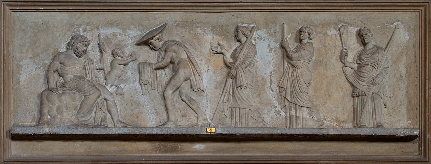 Relief with the image of the scene of Dionysos' birth. Marble. Roman work of the 2nd century after a Greek model of the second half of 4th century BCE. Inv. No. 328. Rome, Vatican Museums, Pius-Clementine Museum, Room of the Muses, 1