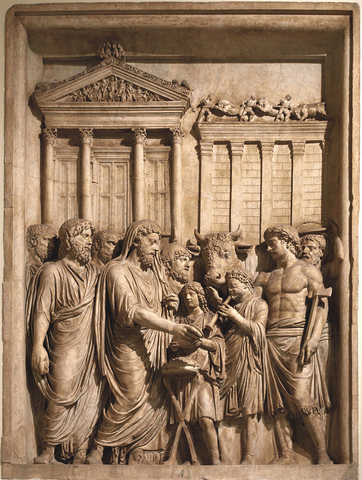 Sacrifice to Capitoline Jupiter. Relief panel from a triumphal arch (presumably). Marble. 177—180 CE.  Inv. No. MC 807. Rome, Capitoline Museums, Palazzo dei Conservatori, Main staircase