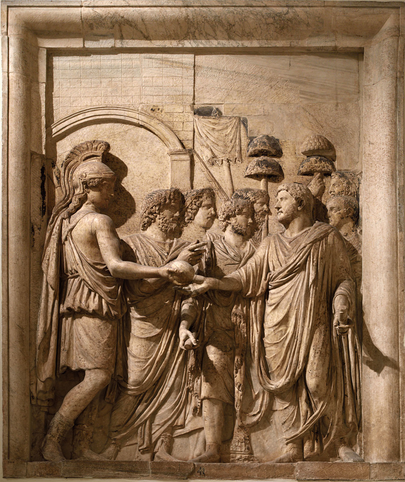 Hadrian's Adventus to Rome. Relief panel from an honorary arch at piazza Sciarra (presumably). Marble. 134—138 CE. Inv. No. MC 810. Rome, Capitoline Museums, Palazzo dei Conservatori, Main staircase