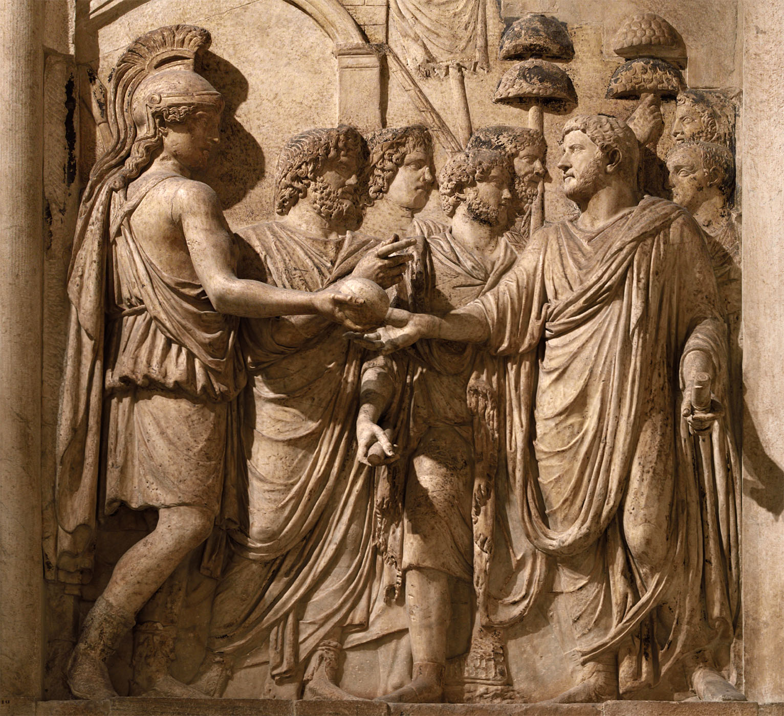 Hadrian's Adventus to Rome (close-up). Relief panel from an honorary arch at piazza Sciarra (presumably). Marble. 134—138 CE. Inv. No. MC 810. Rome, Capitoline Museums, Palazzo dei Conservatori, Main staircase