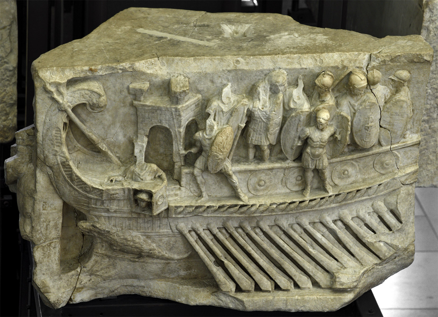 A part of relief depicting a roman warship. Marble. Last third of the 1st century BCE. Inv. No. 31680. Rome, Vatican Museums, Gregorian Profane Museum