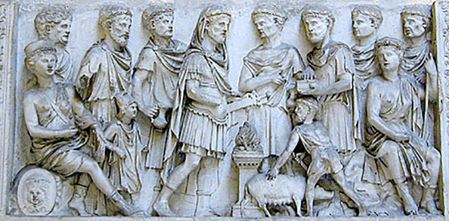 Relief of Aeneas sacrificing the Laurentian sow. 2nd cent. CE. Plaster cast. Inv. No. MCR 5019 (for the original: Inv. Nos. 321 (inv. 1914), 477 (inv. 1825)). Rome, Museum of Roman Civilization