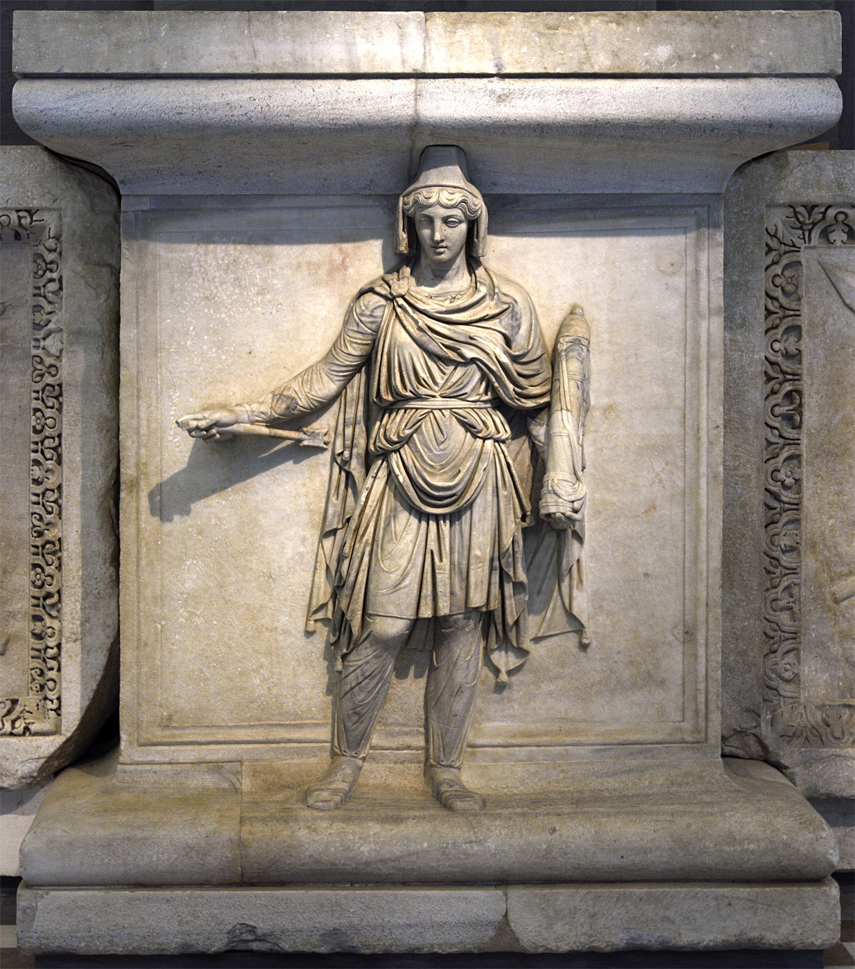 Personification of the Parthia (Armenia?) province. Relief of the Temple of Hadrian on Campus Martius. Proconnessian marble. 138—145 CE.  Inv. No. 6757. Naples, National Archaeological Museum
