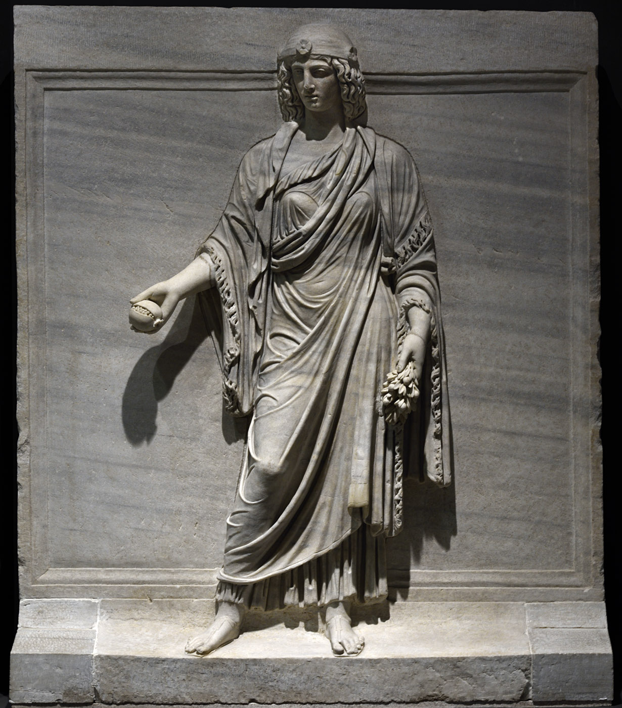 Personification of a province (Egypt?). Relief of the Temple of Hadrian on Campus Martius. Proconnessian marble. 138—145 CE. Inv. No. 138. Rome, Roman National Museum, Palazzo Massimo alle Terme