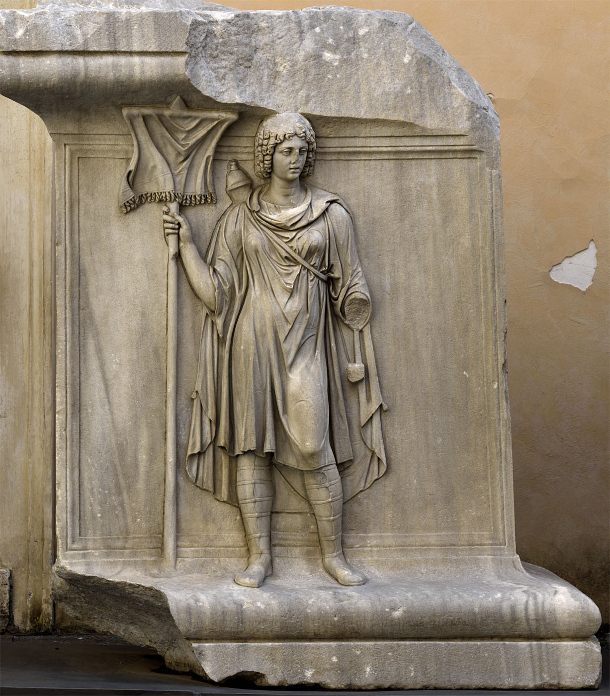 Personification of a province (Mauretania?). Relief of the Temple of Hadrian on Campus Martius. Inv. No. MC768. Proconnessian marble. 145 CE. Inv. No. MC 768. Rome, Capitoline Museums, Palazzo dei Conservatori, Courtyard
