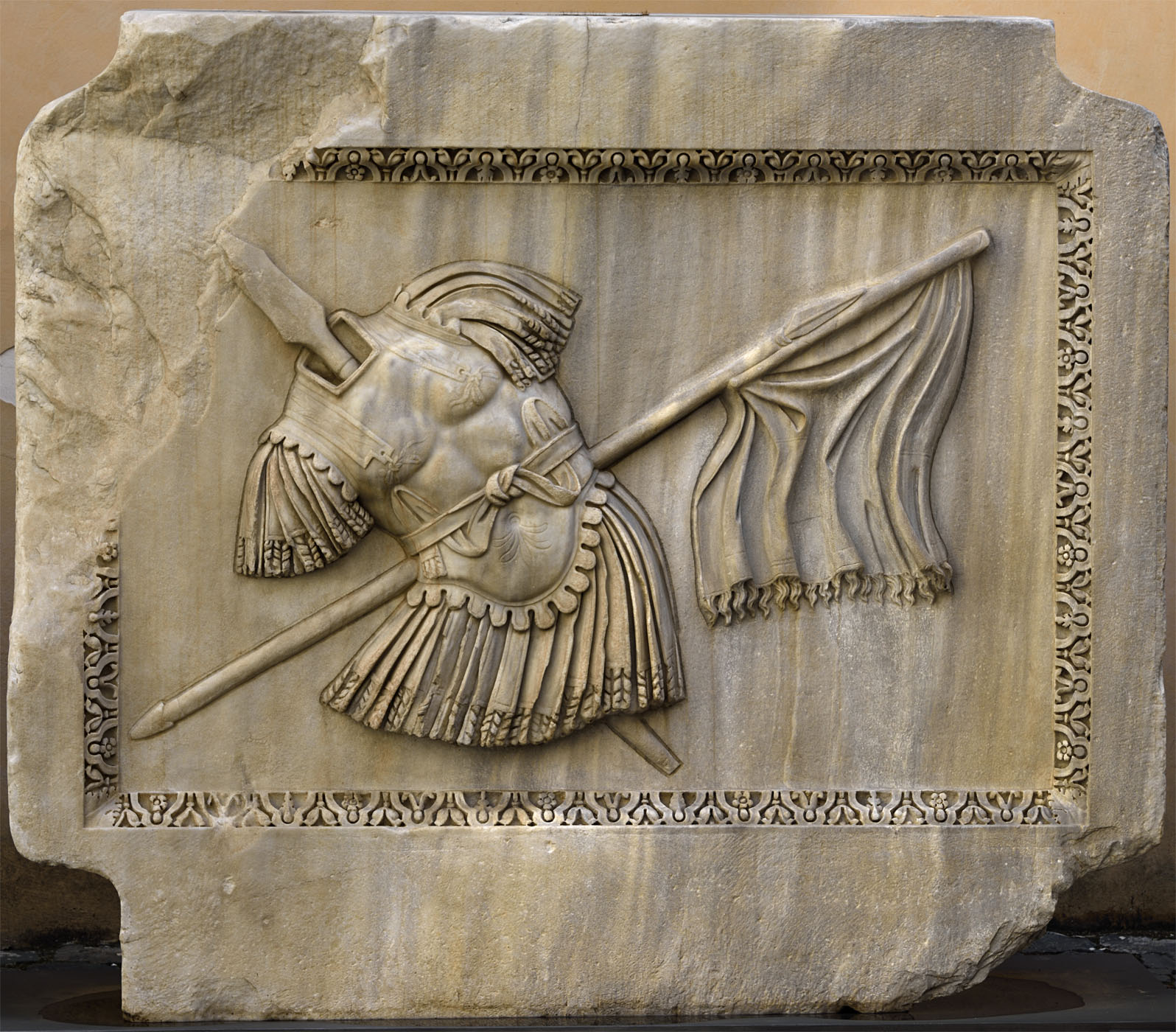 Trophy. Relief of the Temple of Hadrian on Campus Martius. Proconnessian marble. 138—145 CE. Rome, Capitoline Museums, Palazzo dei Conservatori, Courtyard