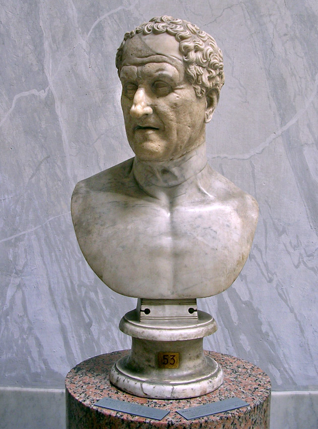 Male portrait (Aulus Postumius Albinus, consul of 99 BCE?) Probably Flavian reworking. Inv. No. 2261. Rome, Vatican Museums, Chiaramonti Museum, New wing, 53