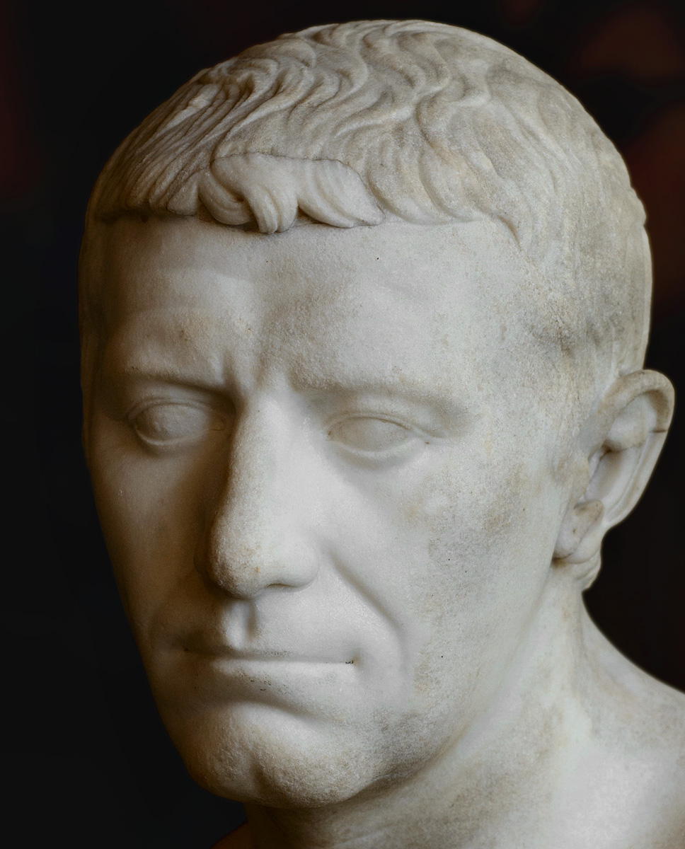 Portrait of an unknown (the so-called portrait of Corbulo) — close-up. Marble. Copy made in 41—54 CE after an original of the republican period, ca. 30 BCE. Inv. No. MR 453 / Ma 925. Paris, Louvre Museum