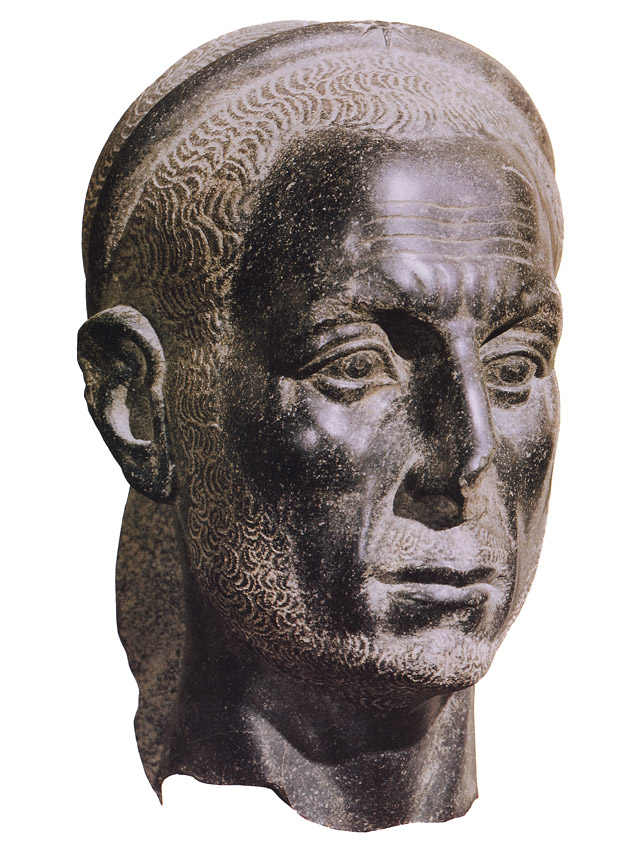 Portrait of an Egyptian priest (in the past well-known as Julius Caesar). Diorite. 3rd century. Inv. No. 31. Rome, Museum of Barracco