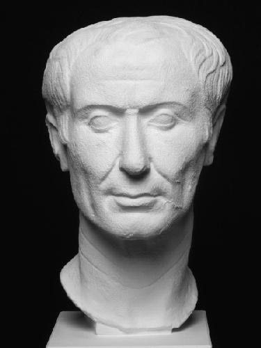 Portrait of Julius Caesar. Plaster cast of the portrait head of Julius Caesar in the Turin Museum of Antiquites.